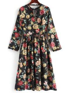 Long Sleeve Floral Cut Out Midi Dress - Floral L