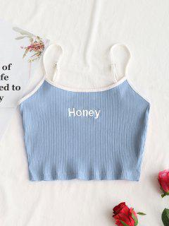 Ribbed Cropped Honey Embroidered Tank Top - Light Blue L