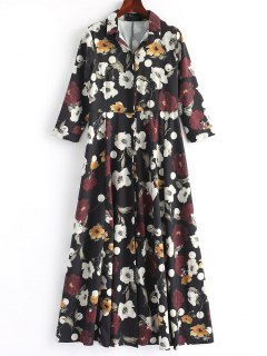 Button Up Floral Shirt Maxi Dress - Floral L