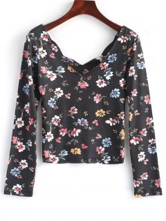 Scalloped Long Sleeve Floral Top - Floral S