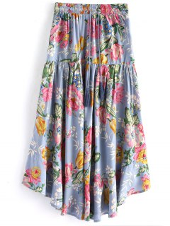 Drawstring Ruffle Floral Maxi Skirt - Stone Blue S