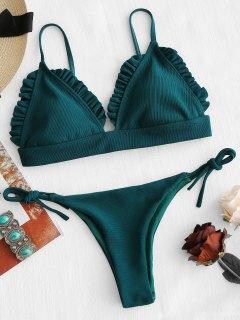 Rüschen Strukturierte Tanga Bikini Set - Dunkelgrün S