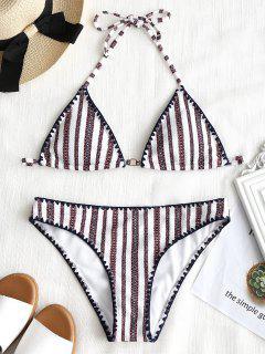 Patchwork-Streifen-gepolsterter Badeanzug - Weiß S