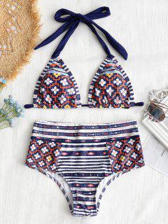 Halter Patchwork Druck Hoch Taillierte Bikini-Set - M