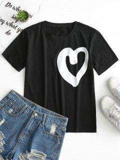 Round Collar Heart Print Tee - Black L