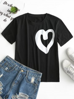 Round Collar Heart Print Tee - Black Xl