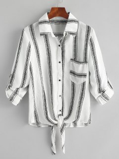 Tied Hem Striped Pocket Shirt - White M