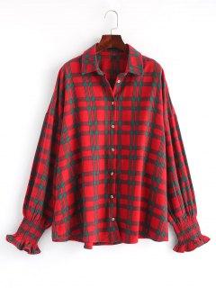 Chemise Oversize à Carreaux à Manches Smockées - Rouge