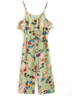 Tiered Flounce Floral Belted Cami Jumpsuit - Floral L