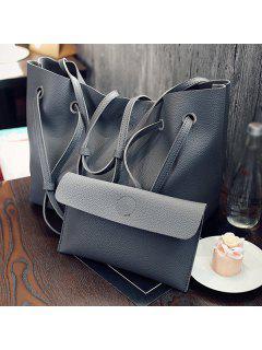 Magnetic Textured Leather Shoulder Bag - Deep Gray