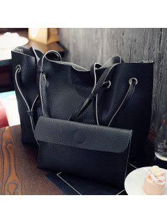 Magnetic Textured Leather Shoulder Bag - Black