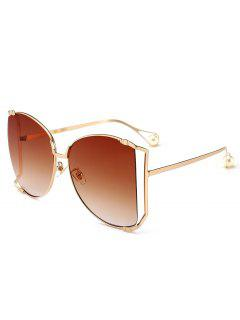 Cut Out Lens Oversized Square Sunglasses - Tea-colored