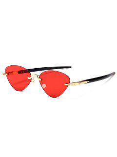 Rimless Cat Eye Sunglasses - Red
