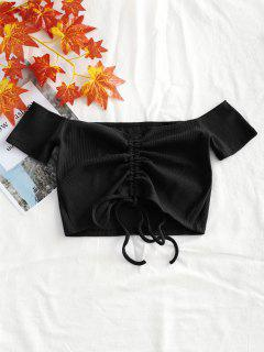 Knitted Gathered Off Shoulder Top - Black S
