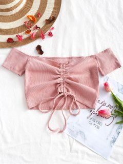 Knitted Gathered Off Shoulder Top - Pink M