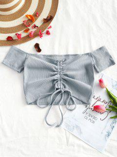 Knitted Gathered Off Shoulder Top - Blue Gray S