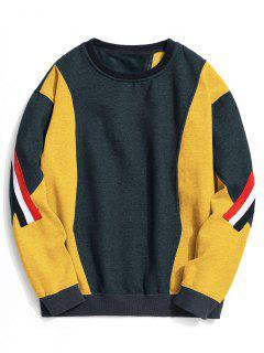 Fleece Striped Color Block Sweatshirt - Cadetblue L