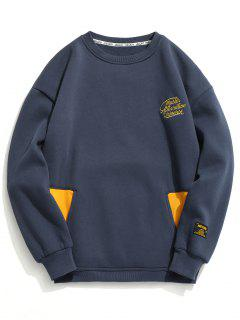 Embroidered Fleece Crew Neck Sweatshirt - Cadetblue 2xl