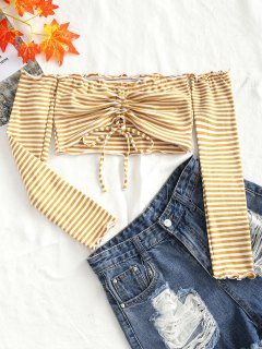 Knitting Gathered Off Shoulder Top - Yellow