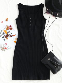 Knitted Snap Button Ribbed Bodycon Dress - Black S