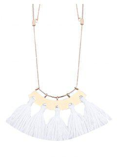 Alloy Statement Tassel Pendant Necklace - White