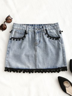Crochet Trim Mini Denim Skirt - Denim Blue S