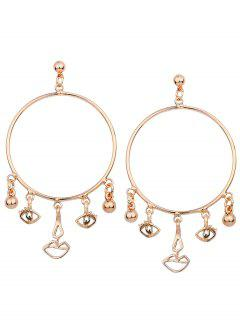 Alloy Circle Funny Eyes Lips Earrings - Golden