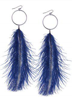 Simple Alloy Circle Feather Hook Earrings - Blue