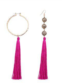 Asymmetric Circle Beaded Tassel Earrings - Sangria