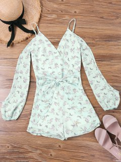 Floral Slit Sleeve Spaghetti Strap Romper - Light Green M