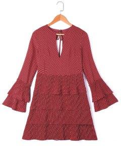 Keyhole Polka Dot Layered Dress - Wine Red S