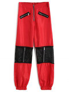 Fishnet Panel Zippered Jogger Pants - Red S