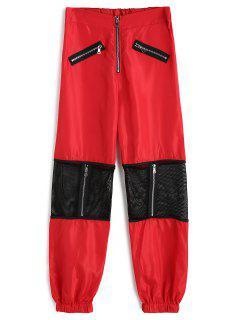 Pantalon Jogger Zippé à Empiècement Effet Filet - Rouge M
