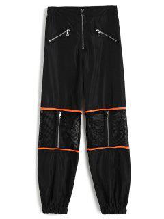 Fishnet Panel Zippered Jogger Pants - Black L