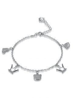 Sterling Silver Rhinestone Crown Heart Charm Bracelet - Silver