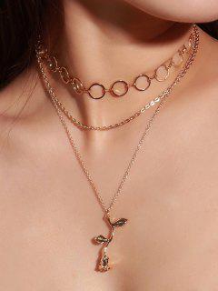 Valentine  's Day Layered Rose Anhänger Halskette - Golden