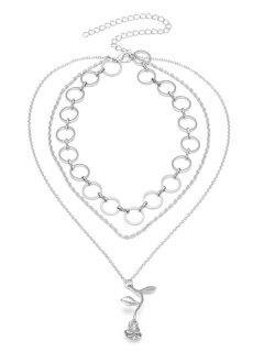 Valentinstag Geschichtete Rose Anhänger Halskette - Silber