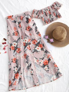 Off Shoulder Shirred Top And Asymmetrical Skirt Set - Floral L