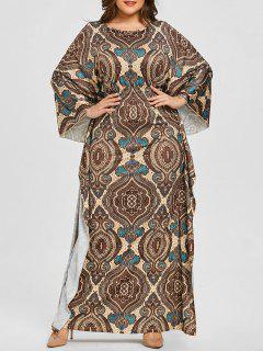 Robe à Manches Chauve-souris à Imprimé Ethnique Grande Taille - Camel Clair Xl