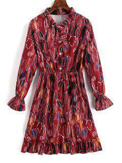 Ruffle Half Buttoned Leaves Shirt Dress - Deep Red M