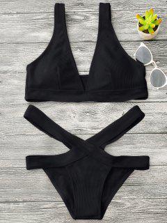 Haut De Bikini à Col Plongeant Et Slip Bandage - Noir M