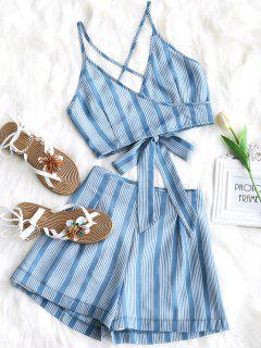 Ties Stripes Top And High Waisted Shorts Set - Windsor Blue L