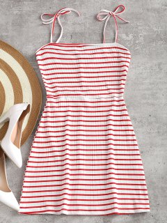 Knitted Ribbed Slip Mini Dress - Red With White M