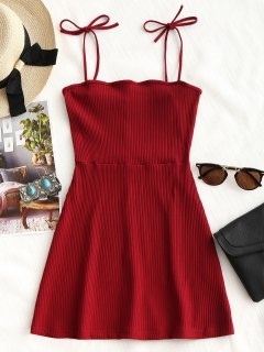 Knitted Ribbed Slip Mini Dress - Red M