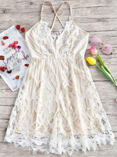 Lace Scalloped Criss Cross Slip Dress - White L