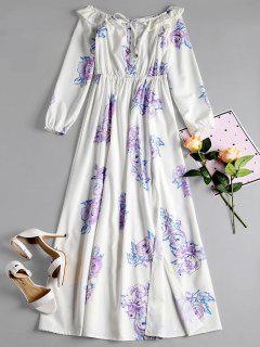 Off Shoulder Ruffles Slit Floral Dress - White S