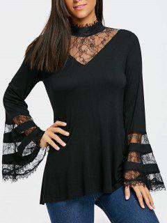 Bell Sleeve Mock Neck Lace Trim Blouse - Black 2xl