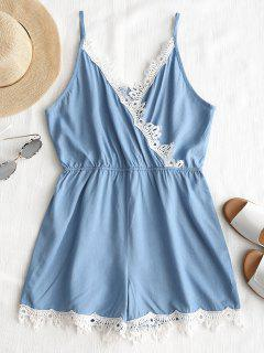 Lacework Surplice Cami Romper - Light Blue S