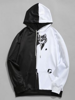 Kangaroo Pocket Cat Graphic Hoodie - White And Black L