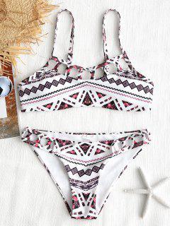 Ausgeschnittener Geometrischer Patchwork Druck Bikini - Weiß L